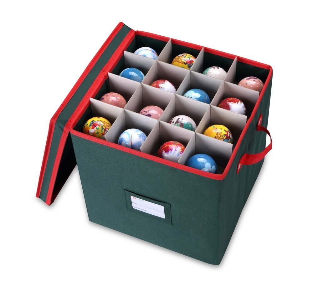 Get Quotations · Primode Holiday Ornament Storage Box Chest, With 4 Trays  Holds Up To 64 Ornaments Balls