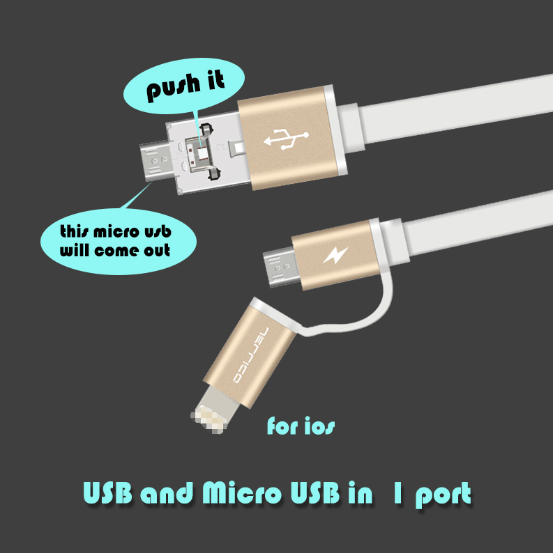 wholesale charger multi-founctional OTG charging power transfer share 2 in 1 double micro USB data cable for android and iphone