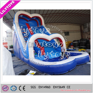 Elegant shape hot water slide pipe/beautiful blue slide/Guangzhou Lilytoys inflatable