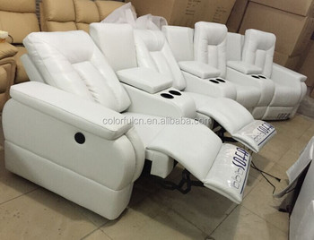 Genuine Leather Recliner Sofa White