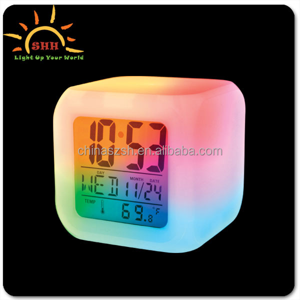 Digital led 7 color changing alarm table clock