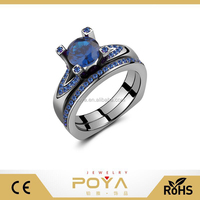 POYA Jewelry Sterling Silver 14k Black Gold Plated and Created Blue Sapphire Engagement Wedding Bridal Ring Set