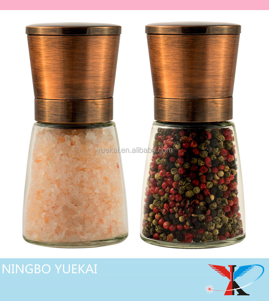 Copper plating Salt and Pepper Grinder Set of 2- 18/8 Food-Safe Stainless Steel Top, Special Thickening Glass Body
