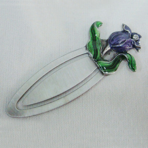 antique pewter flower metal bookmark(P08015b)