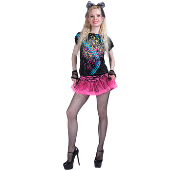 Party Fancy Dress Adult Sexy Pop Diva 80s Clothing Fancy Dress Up