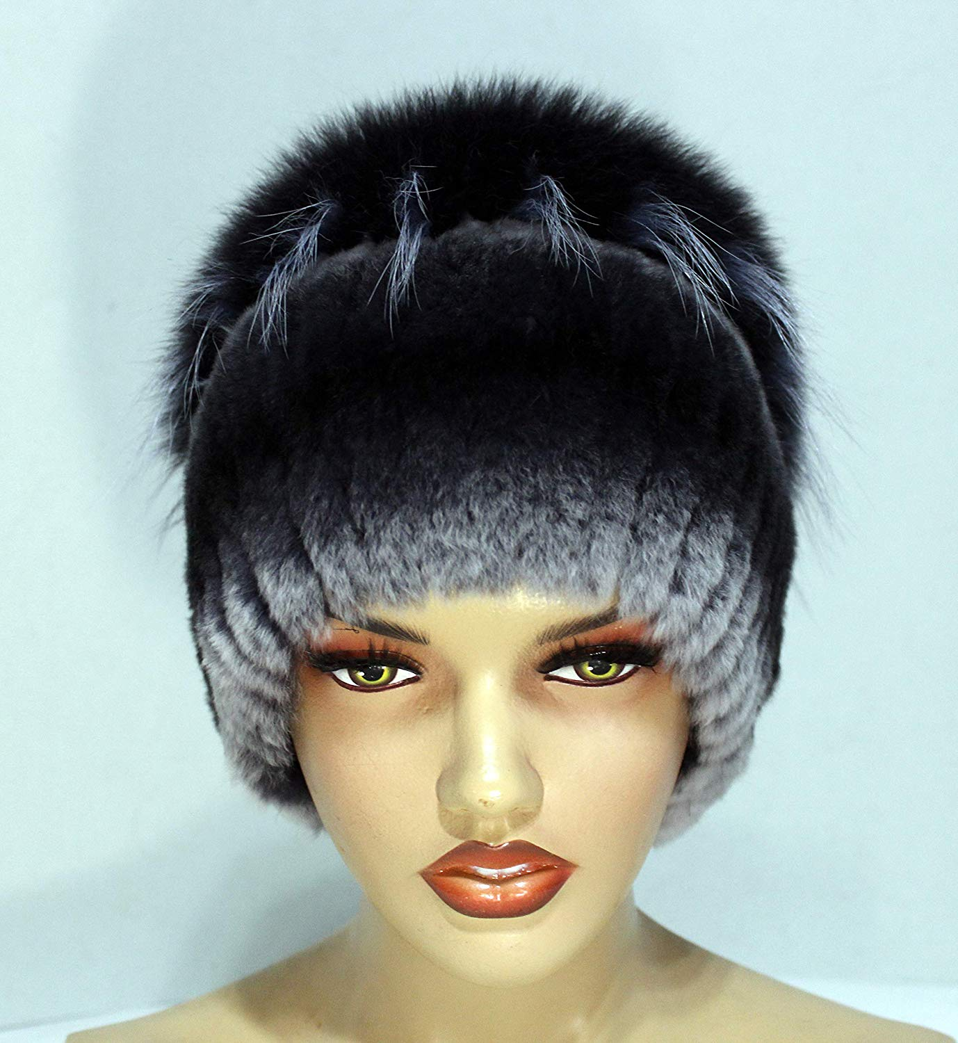 bb4940b5aab Get Quotations · Winter fur hat on a knitted basis of polar fox and rex  rabbit