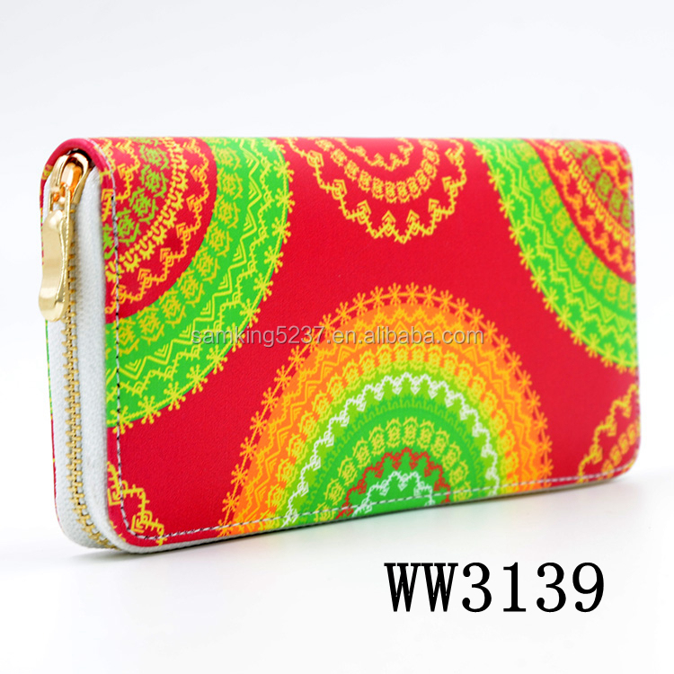 Fancy Women Colorful Custom Print Wallet Blank Sublimation Full Grain Leather Wallet