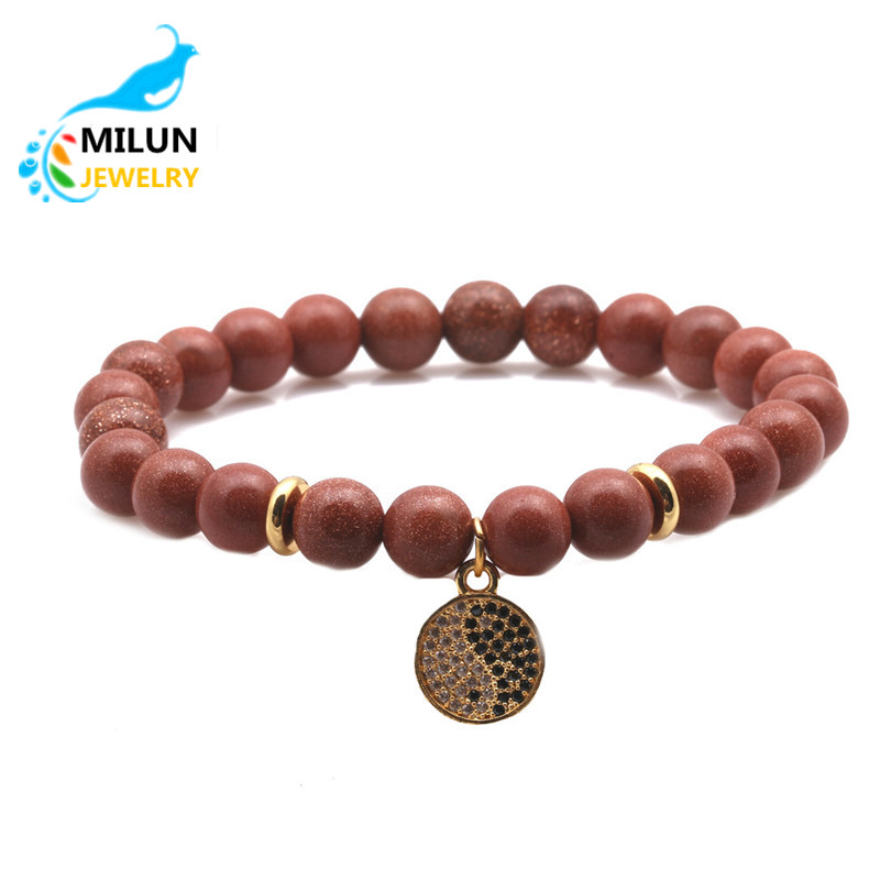 Hot Sale Jewelry Natural stone Lava Zircon Gold seed Charm Bead Bracelet Men