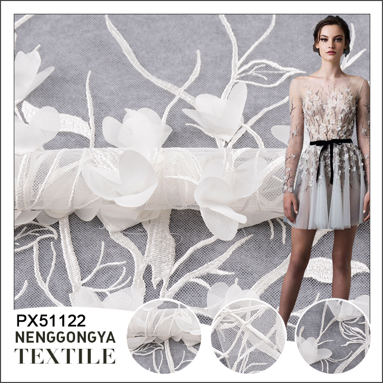 Nice white cheap embroidery lace fabric tulle for nigerian wedding