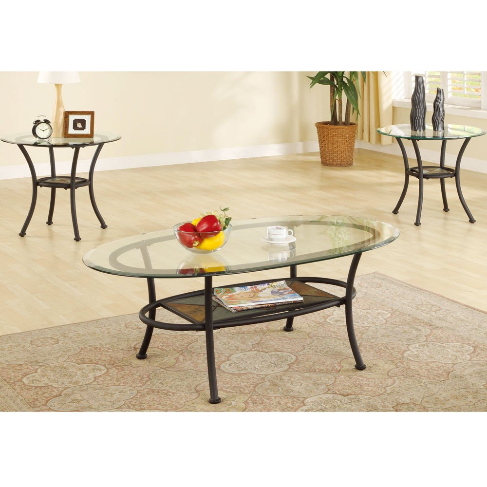 Buy 1perfectchoice 3 Pcs Oval Coffee Table Round End Side
