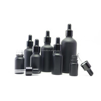 Best Selling cosmetic bottle frosted black glass vape bottles 30 ml dropper glass bottle for e juice Round-3016A