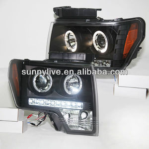 For FORD F-150 Raptor 08-12 Head Light LED Angel Eyes Black Color V4