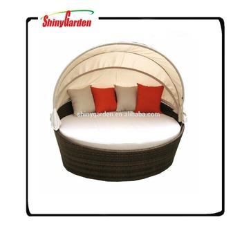Rattan Runden Outdoor Lounge Bett Mit Baldachin, Runde Bett, Außen Runde  Rattan