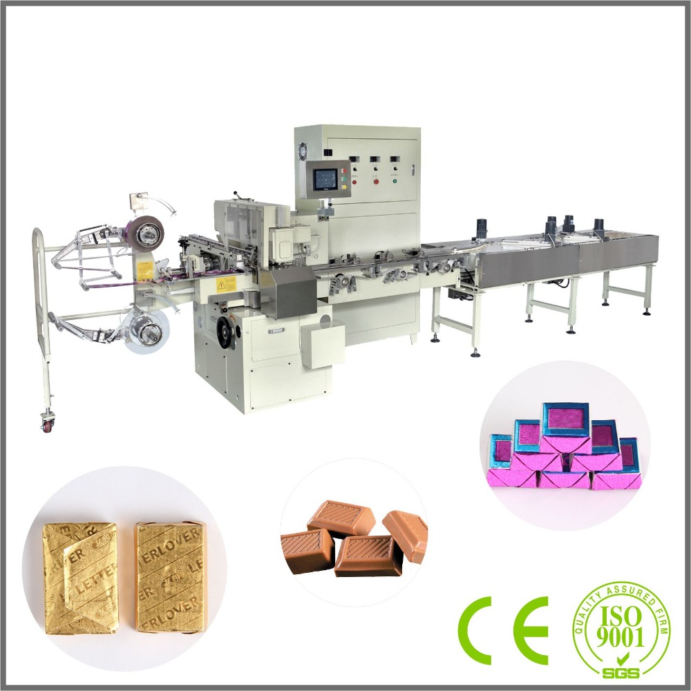 With CE Automatic aluminum foil square chocolate wrapping machine