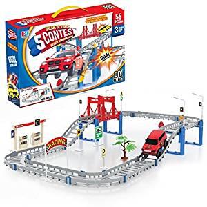 Educational DIY Slot Car Toys Boy Toys Assembly Track Car Toys Electricity Track Car Toys Children