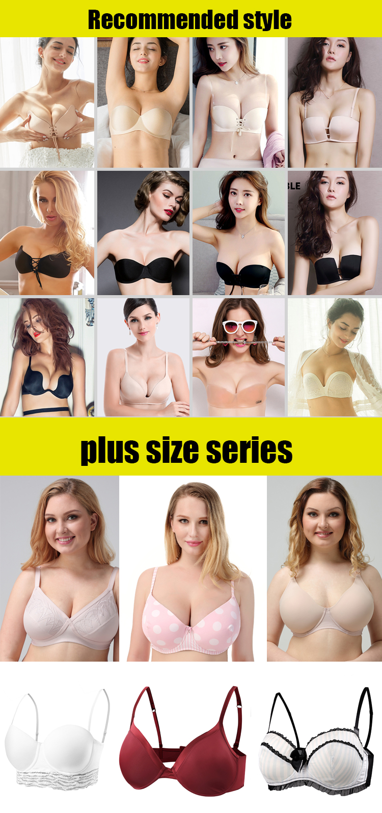 Seamless For Evening Backless Dresses Double Push Up Bra Invisible Strapless