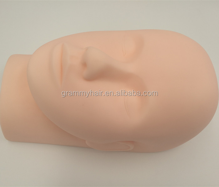 Flat Rubber Practice Mannequin Head for Eyelashes Makeup Massage Practice фото