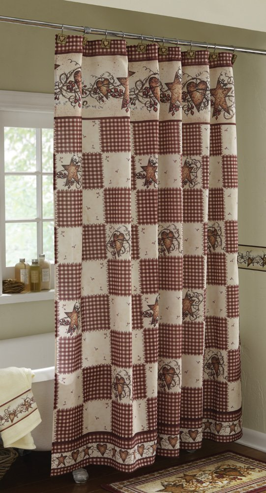 Superbe Get Quotations · Primitive Hearts And Stars Country Shower Curtain