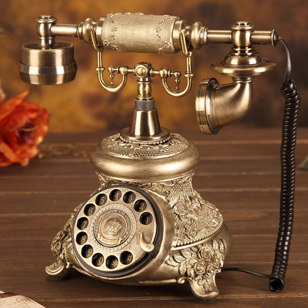 Vintage decorative phone Fashion creative corded phone Rotating disk antique telephone landline Antique European telephone Household fixed landline Antique telephone,B