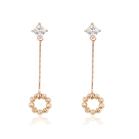 95495 xuping genuine engagement wedding sparkling sunflower long chain 18k gold dangling earring