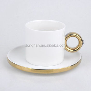 plain white ring coffee set with gold rim