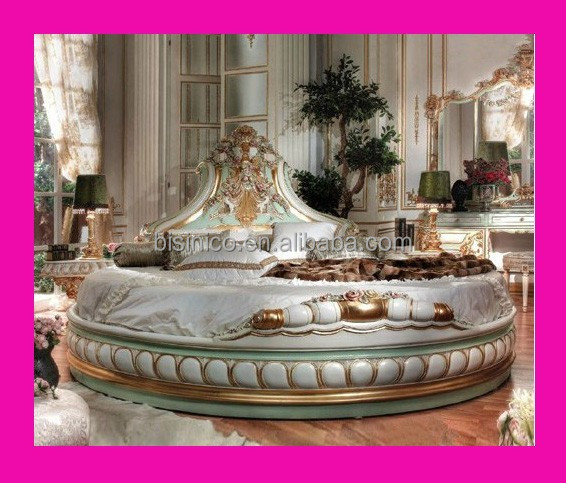 Bisini neo classico ialian stile letto rotondo solido legno antico intagliato a mano letto - Letto rotondo prezzo ...
