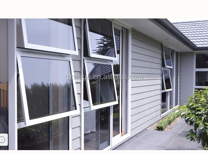 Aluminum vertical top hung tempered glass window