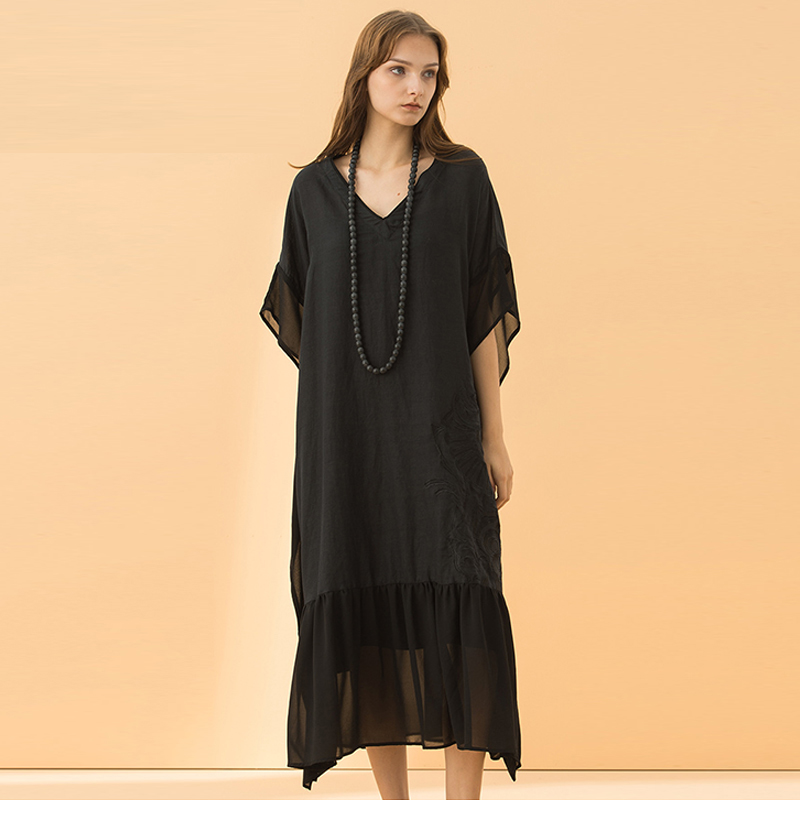 9a5056b3844c Maxnegio 2018 Vintage Embroidered Patch Black Linen Long Maxi Dress Women  In Guangzhou