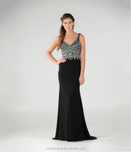 Beaed black blackless latest beautiful prom dresses simple nice lady gown
