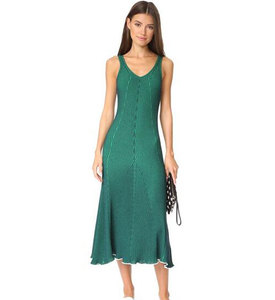 High quality women sleeveless ribbed maxi green summer bodycon long dress