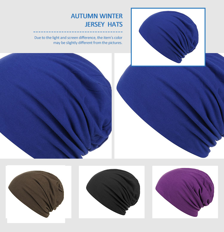 Wholesale unisex Slouchy Hat sleep hat custom jersey beanie Soft Chemo Hat satin lining bamboo fabric