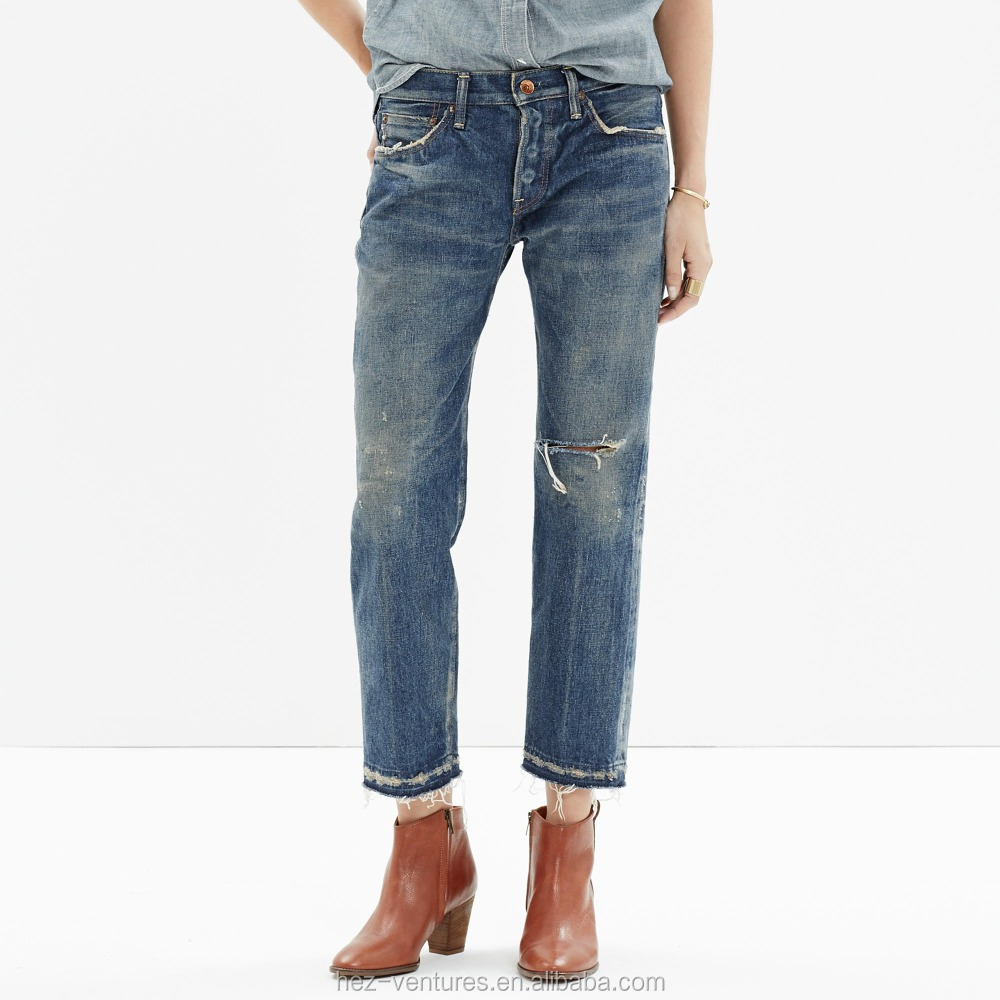 ladies denim jeans ankle jeans ripped free sample jeans for women