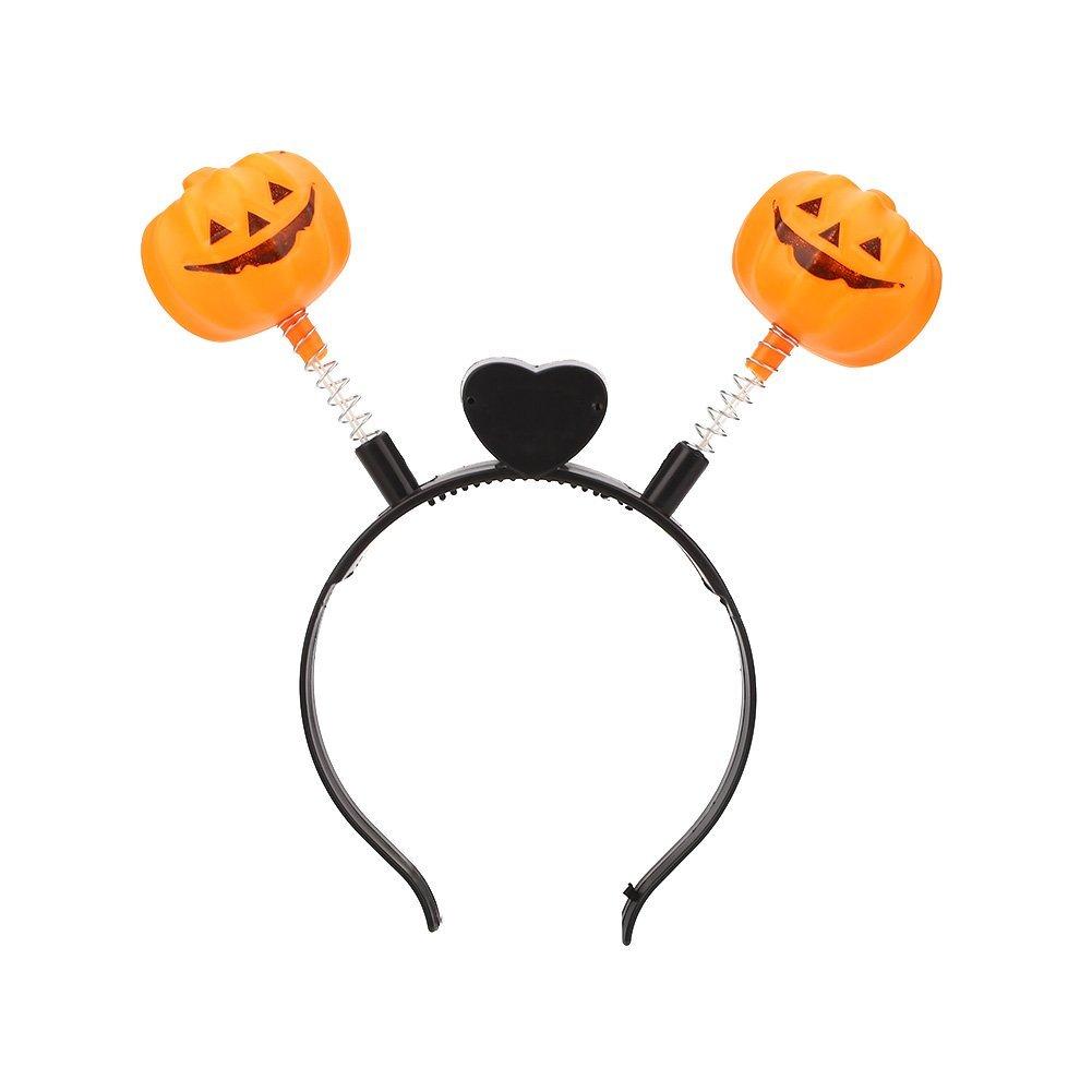 Hanbaili Halloween LED Light Up Hair Band Head Band Pumpkin Flashing Party, pumpkin springs pattern