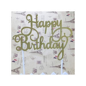 Paper Gold Silvery Happy Birthday Cake Toppers Decoration Items