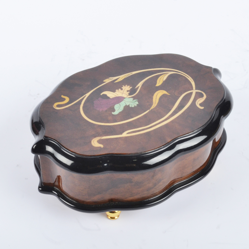 Handmade Floral Inlay Matte Finish Musical Jewelry Box
