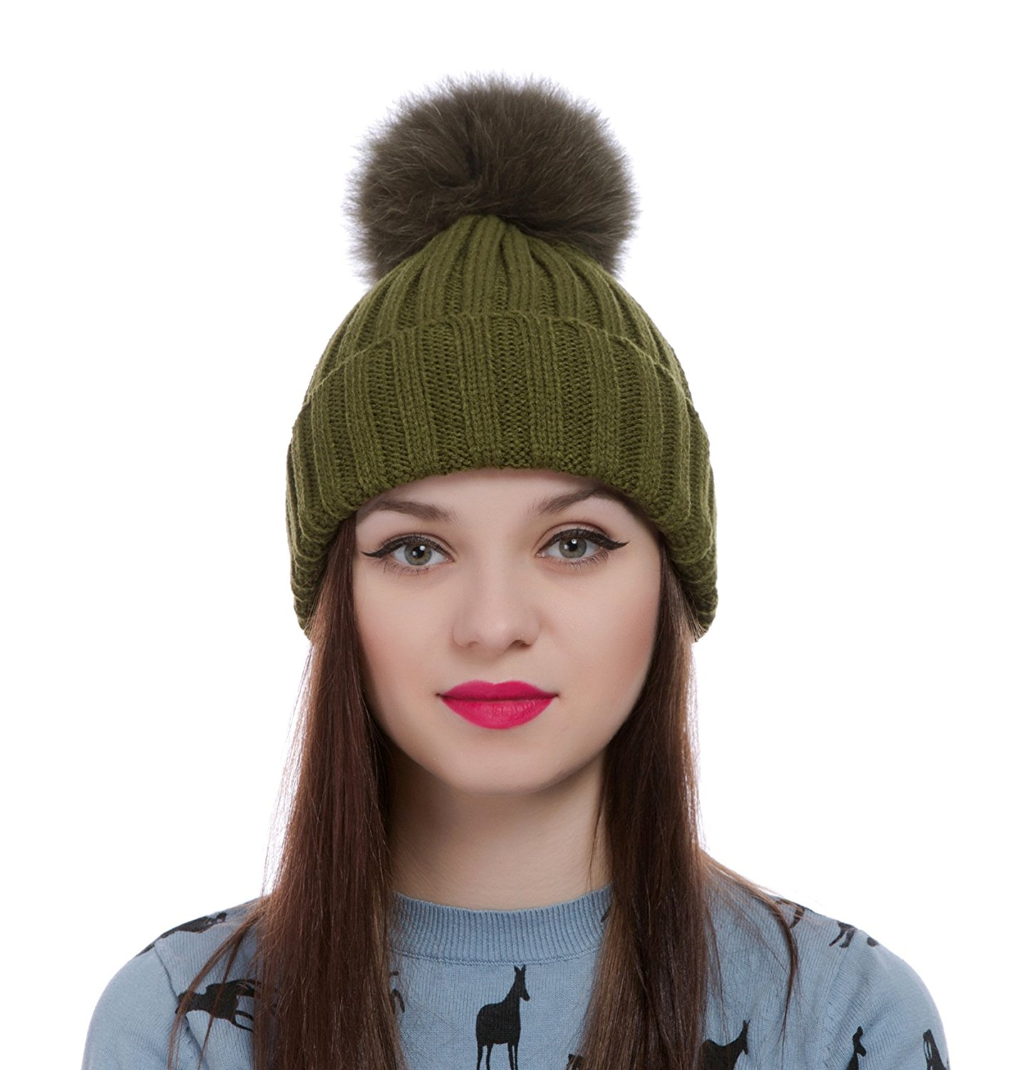 Get Quotations · Womens Girls Winter Knitted Fur Hat Real Large Detachable  Raccoon Fox Fur Pom Pom Beanie Winter 6baa3b5721f1