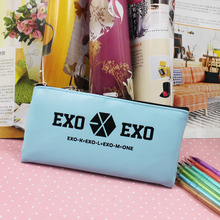 Kroea Style Light Blue EXO pencil case Leather Pen Bag Stationery Pouch Three Colors Office school supplies Coin Purse