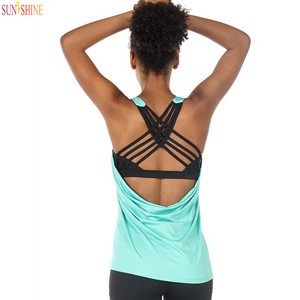 Yoga Tops Workouts Clothes Activewear Built in Bra Tank Tops for Women