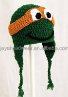 2014 popular ninja turtles knitted beanie hat soft animal knitted hat ear flaps animal knitted hat for promotion