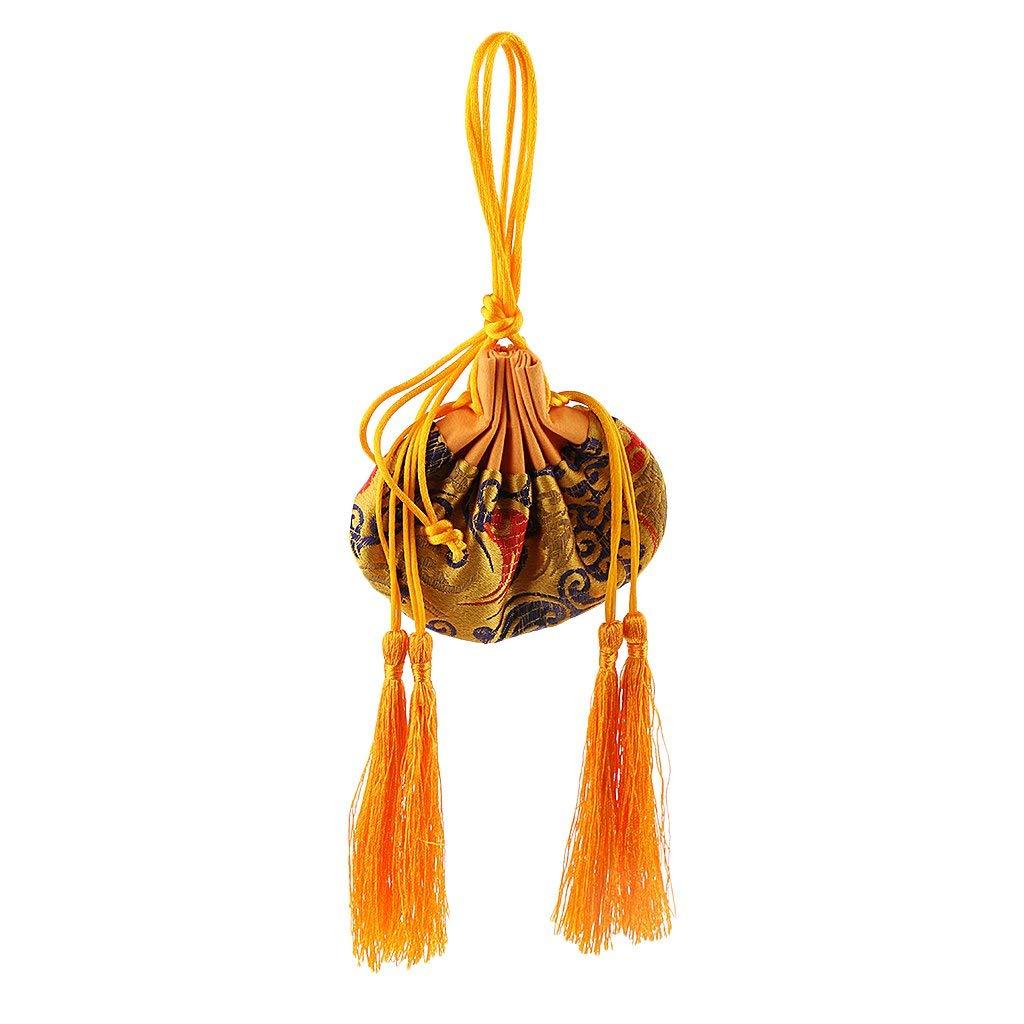 Homyl Traditional Chinese Silk Drawstring Sachet Empty Bag Perfume Bag for Car Hanging Accessories - Yellow
