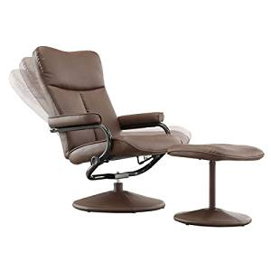 MID-CENTURY LIVING Olivia Bonded Leather Swivel Recliner Chair with Ottoman, Olivia Brown