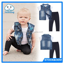 SS-042B Wholesale baby boy fashion designer clothing jeans jacket+trousers clothes sets for kids