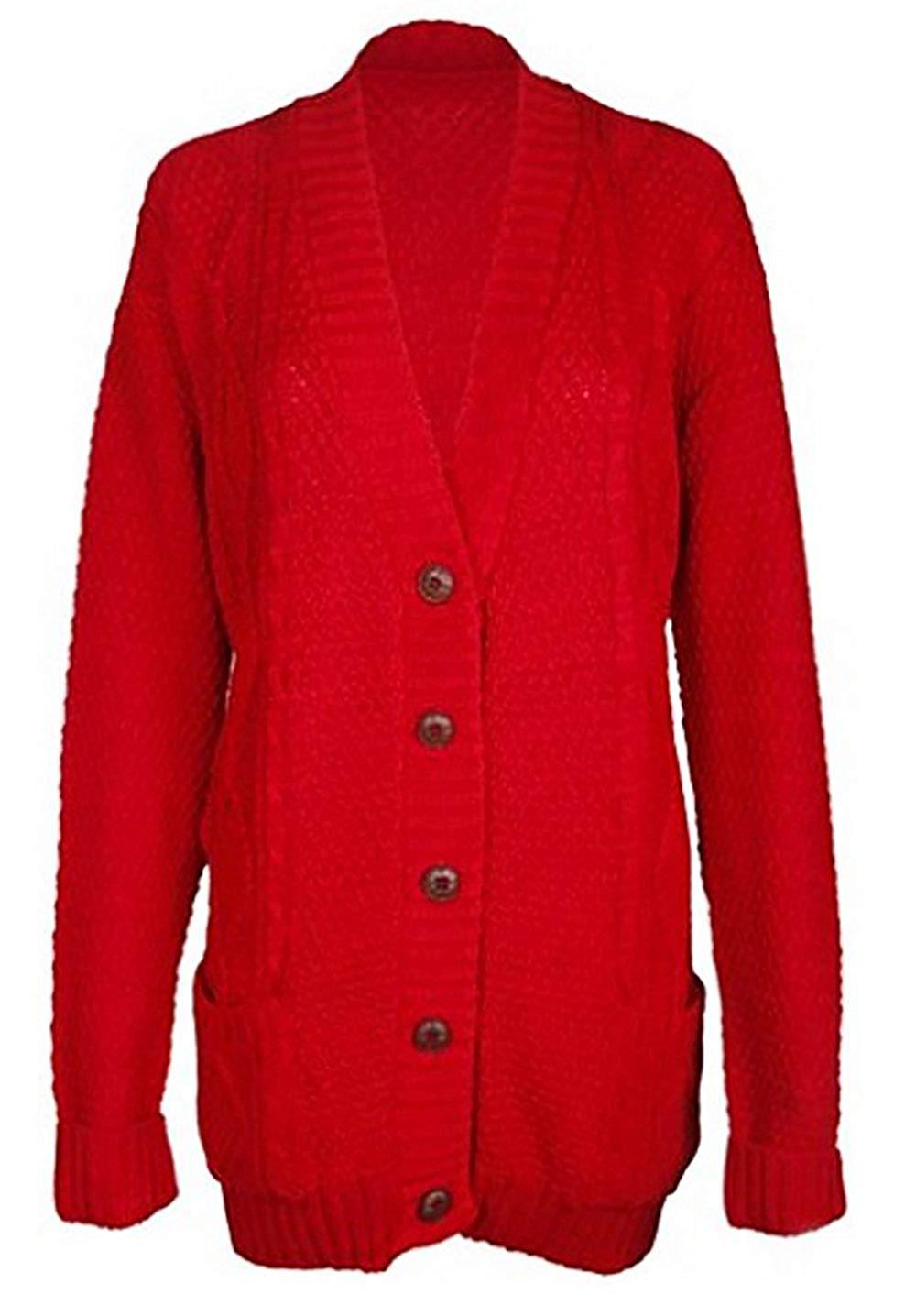 848a9cc563d2 ... Grandad Boyfriend Pocket Button up Top Cardigan. Women s Ladies Long  Sleeve Pocket Cable Knit Chunky Cardigan Size 6-24