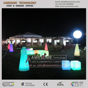 Outdoor Garden Tail Table With Light Led For Swimming Pool Party Tp121a