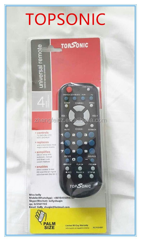 universal remote control topsonic RCA 4 IN 1 3 IN 1 with blister pack