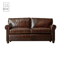 Classic Style Fabric Designs Modern Two Seat Sofa, Two Seat Luxury Vintage Leather Sofa