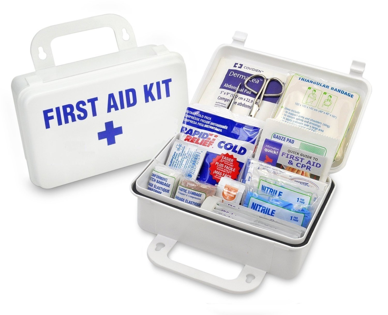 First Aid All-purpose Kit, Waterproof Light Weight, Wall-Mountable Case – Essential Medical Supplies: For Car, Hiking, Home, Etc, Instruction guide, Osha And Ansi Compliance In (Kit for 25 People)