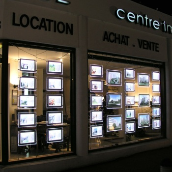 Real Estate Agency LED Illuminated Window Lit Displays Panel Acrylic Image Poster Backlit Hanging Lightbox Sign Holders
