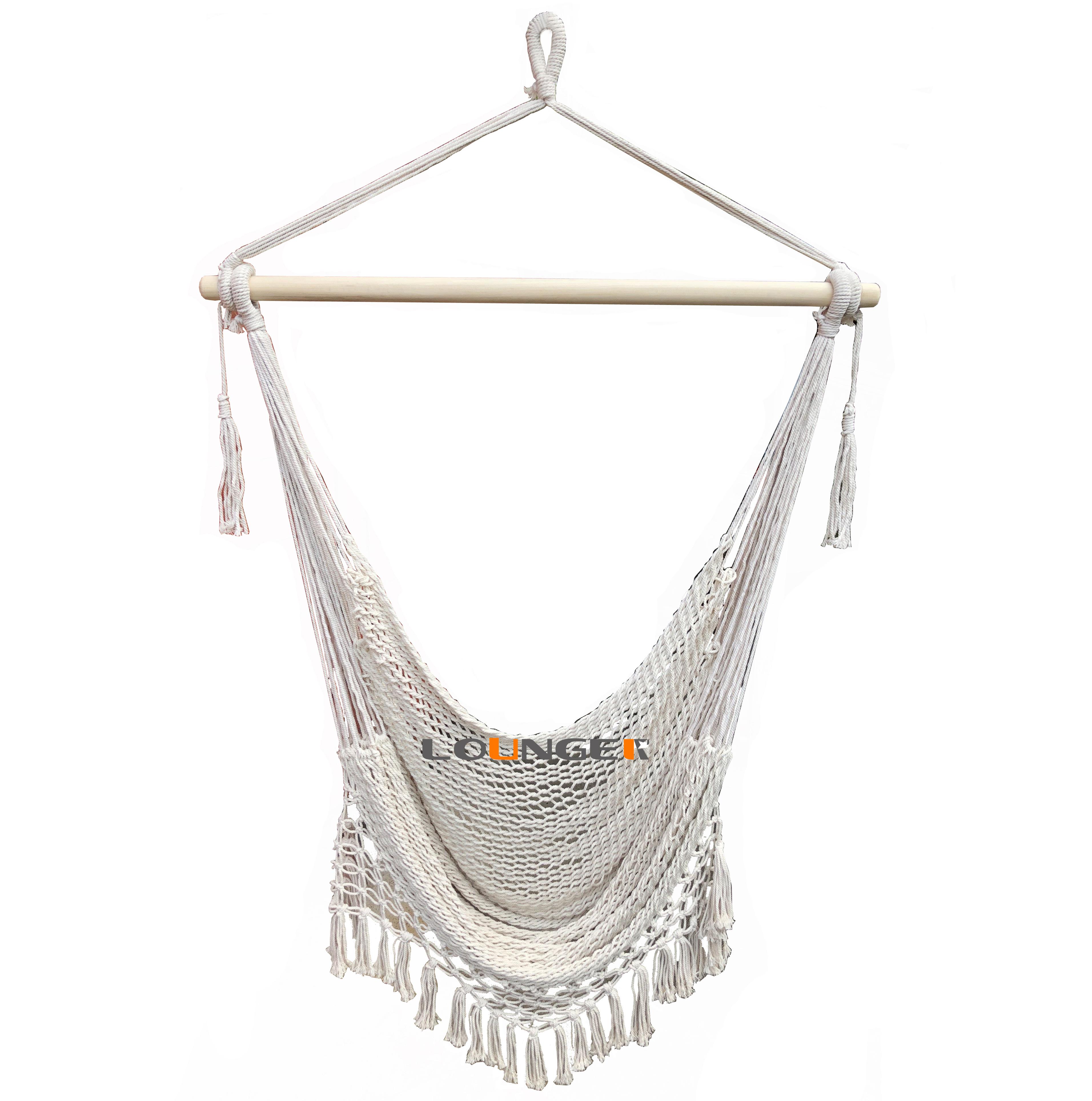Handgemachte baumwolle poly seil garten terrasse schaukel mit macrame