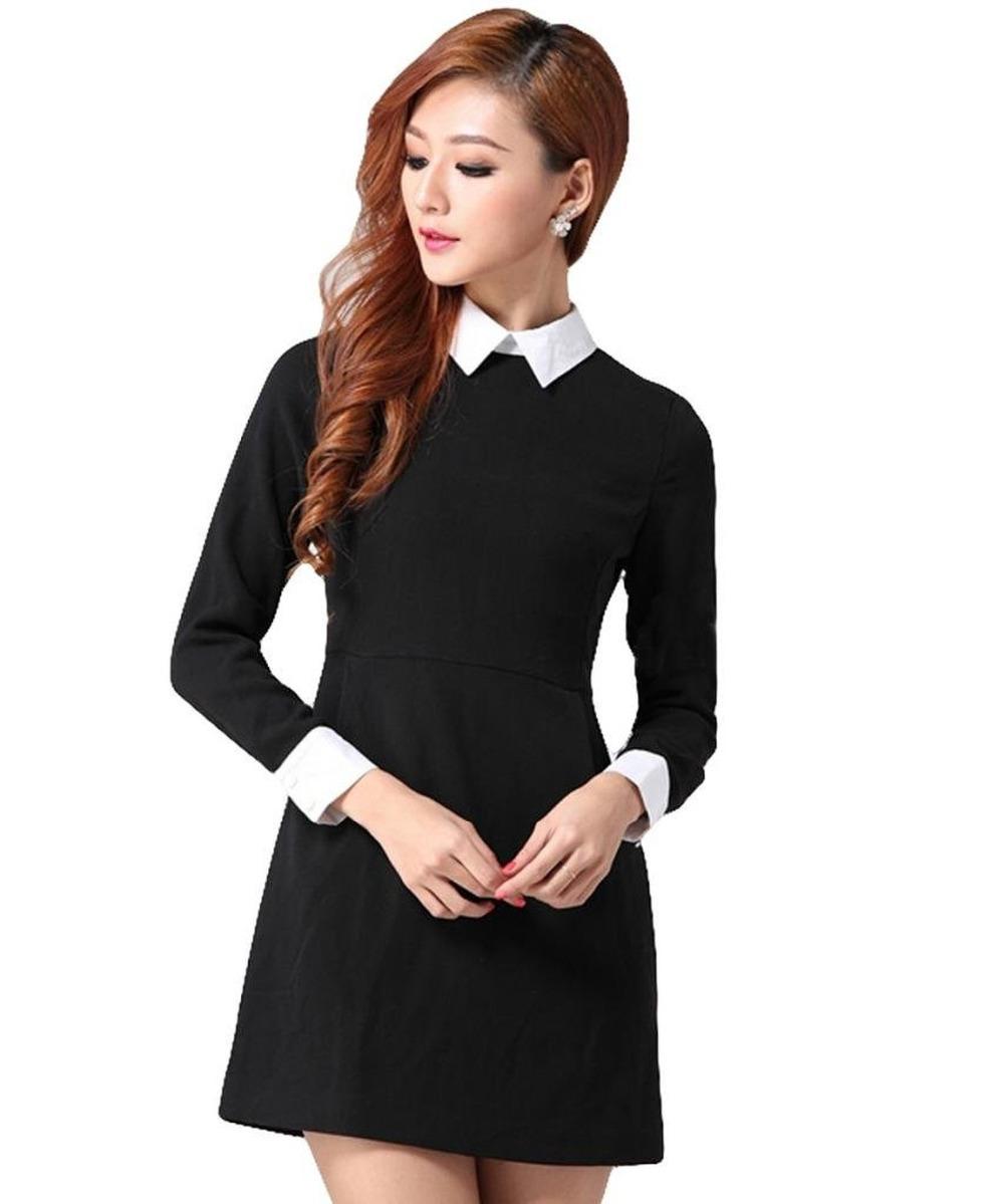 Black dress with white peter pan collar - Get Quotations Women 2015 Long Sleeve Peter Pan Collar Office Ladies Black Dress With White Collar Womens Clothing